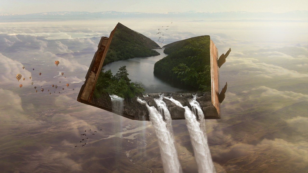 forest and waterfall inside a book
