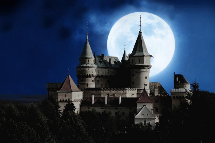 fairytale castle with a full moon